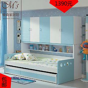 儿童高低床多功能男孩子母床带衣柜床1.2米儿童储物床1.5米包邮