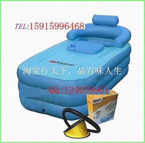 正品INTIME 充气浴缸充气浴池 加长型保暖浴缸 送电泵带排水管