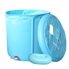 包邮伊润加厚70*70折叠浴桶 充气浴缸 成人浴盆 沐浴泡澡桶送盖子
