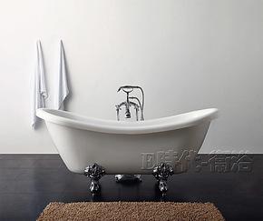 1米76压克力银金属脚贵妃缸 进口纯亚克力白色单人浴缸 8810