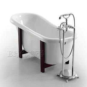 1.53/1.71米亚克力特色木脚浴缸 白色纯压克力单人一体浴缸 8812