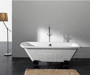 1.8米亚克力橡木脚独立浴缸 纯压克力泡澡缸 卫浴浴缸单人8116