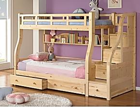 宜家韩式 儿童房 松木儿童床子母床安全梯上下床 高低床 可订制床