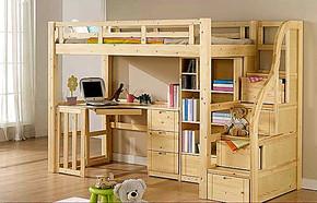实木松木床儿童床高低床子母床组合床上下床带书桌衣柜床特价床