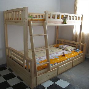 子母床双层床上下床松木床康居69号松木家具高低床儿童实木家具