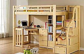 床实木松木床儿童套床高低床子母床组合床上下床带书桌衣柜床特价