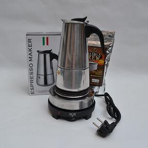 意式咖啡机美式滴滤壶不锈钢电动摩卡壶浓缩咖啡电热炉组6-9杯份