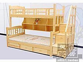 松木实木家具/上下双层床/子母床/儿童床/高低床/带梯柜书架宜家