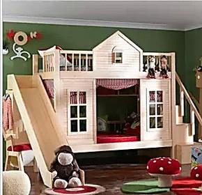 实木儿童床上下铺母子床高低床上下床子母床双层滑梯床母子衣柜床