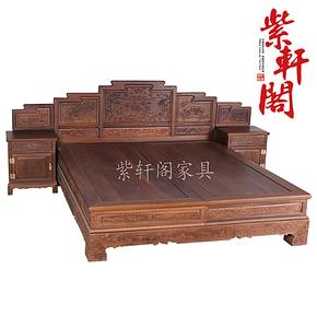 紫轩阁红木 实木古典床榻家具 红木带柜木质床 鸡翅木山水高低床