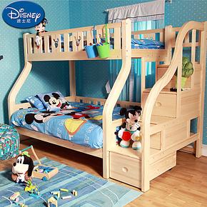 迪士尼进口芬兰松儿童梯柜高低床 酷漫居松木上下床 子母床 特价
