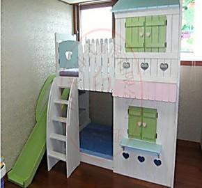 实木儿童床 上下床高低子母床双层床 儿童实木床滑梯床彩色小屋床