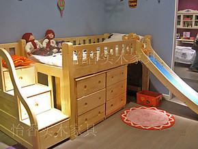 特价新款实木高低床 儿童护栏床 滑梯床 游戏床 进口芬兰松木床