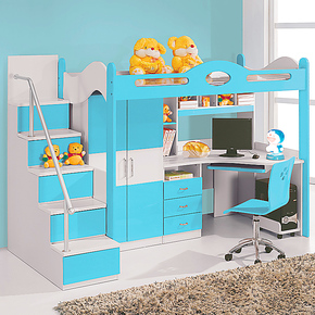 儿童床双层床高低床上床下柜带书桌带衣柜组合床多功能床省空间床