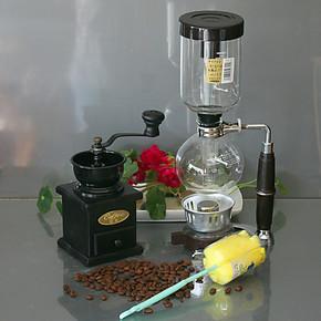 日式虹吸壶酒精灯咖啡机 手磨咖啡豆手动磨豆机磨粉器MD21组合装