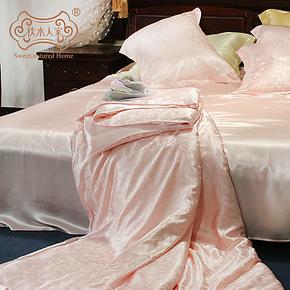 枕水人家双面真丝床品套件 100%桑蚕丝 四件套 宽幅重磅提花正品