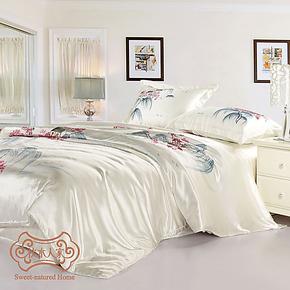 正品枕水人家100桑蚕丝贡缎床品套件 重磅双面真丝床上用品四件套