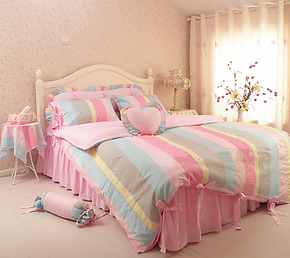 包邮+ 送抱枕!韩国家纺纯棉斜纹床上用品家居床品套件全棉四件套