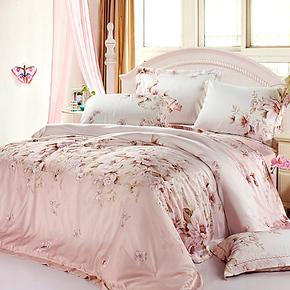 精灵羽家纺 床上用品100%双面天丝四件套 特价床品套件 正品促销