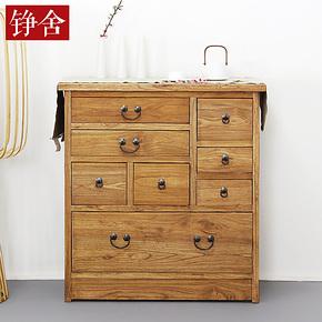 铮舍 老榆木隔断柜 木质门厅柜鞋柜衣帽柜 实木中式家具玄关柜