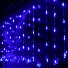 客厅玄关隔断装饰水晶珠帘门帘子隔断屏风80头珠帘挂蝴蝶LED彩灯