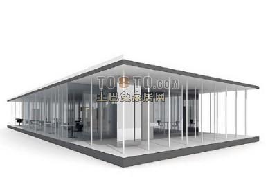 现代简洁造型3d别墅模型下载