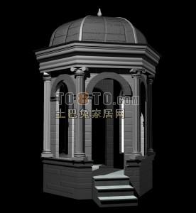 亭子景观设计3D模型下载