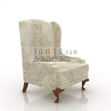 白色欧式现代单人沙发3d模型下载