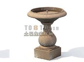 园林喷泉3d模型下载