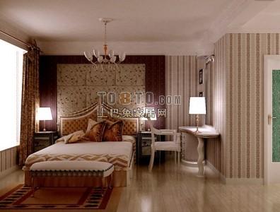 欧式卧室3D模型下载1