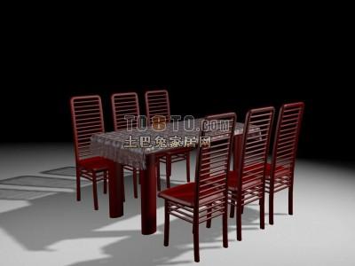 中式风格餐桌3D模型