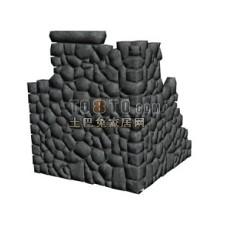 大鹅卵石景墙3d模型下载