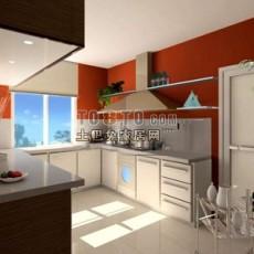 现代厨房043d模型下载