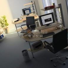 小型办公室3d模型下载