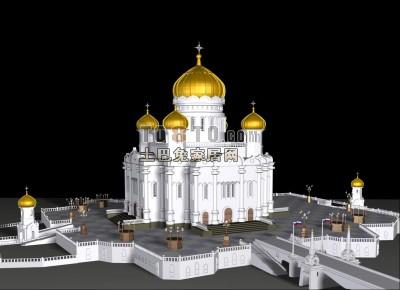 经典欧式风格3d建筑模型下载