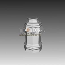 白色欧式古典欧式构件3d模型下载