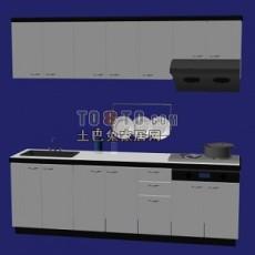 白色现代风格橱柜3d模型下载