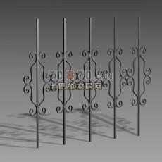 铁艺栏杆3d模型下载