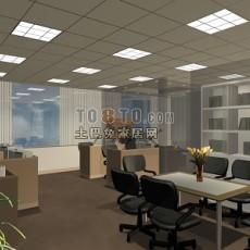 办公室空间3d模型下载