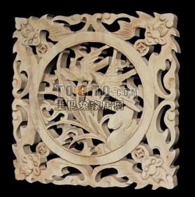 中式木雕花片3D模型11套