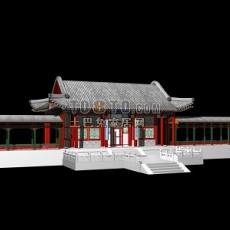 古建筑入口大门3d模型下载