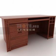 新中式书桌子3d模型下载