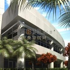 弧形商业建筑3d模型下载
