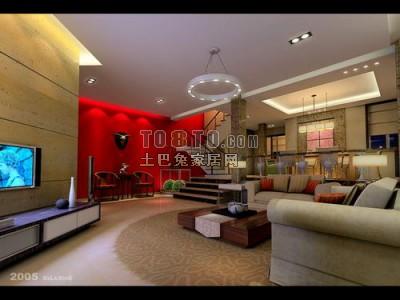 客厅3D模型3套,室内空间3D模型库