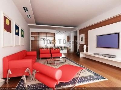 多种风格客厅3D模型下载,共4套