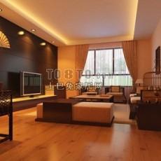 现代中式客厅3d模型下载