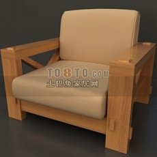 中式休闲实木沙发3d模型下载