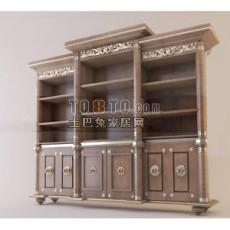 欧式古典书柜3d模型下载