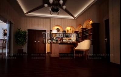欧式书房3D模型下载5