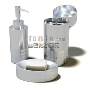 化妆品,瓶子,香皂盒等洗浴用品3D模型3-5套